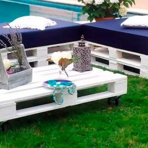 Conjunto Muebles hechos con Palets Chill Out Blanco