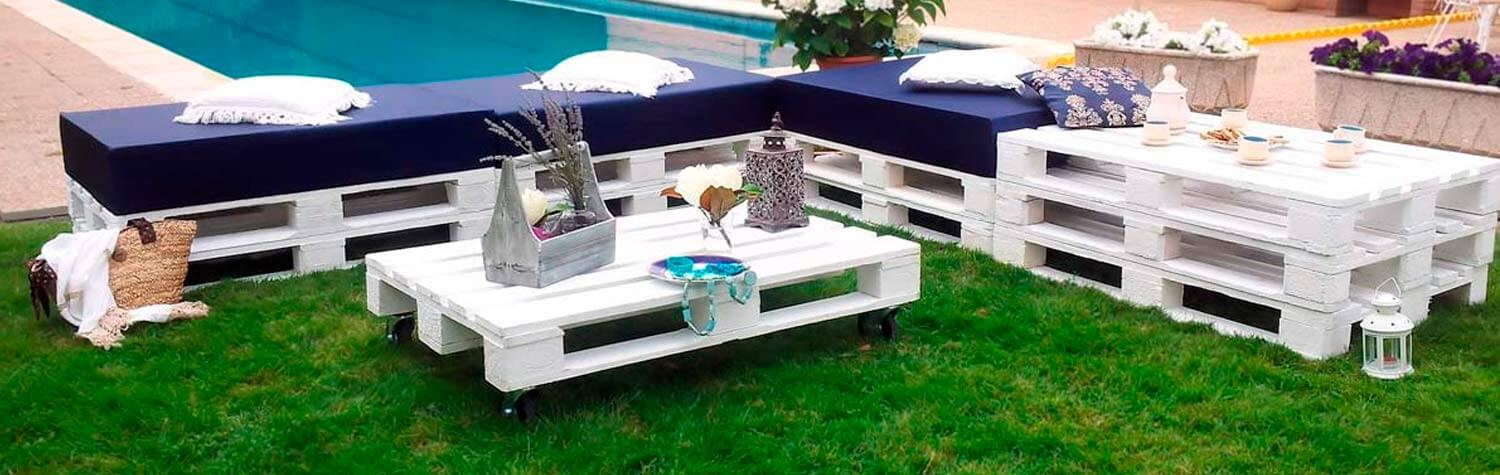 Conjunto De Muebles Hechos Con Palets Chill Out Blanco Decopalecom - Palets-chill-out