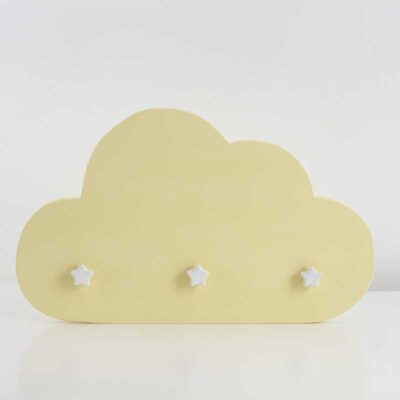 Perchero Infantil Nube Madera Reciclada Multicolor Amarillo